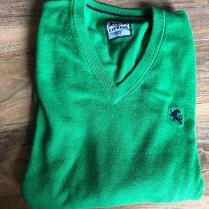 Express Men's Cotton Green V-Neck Sweater